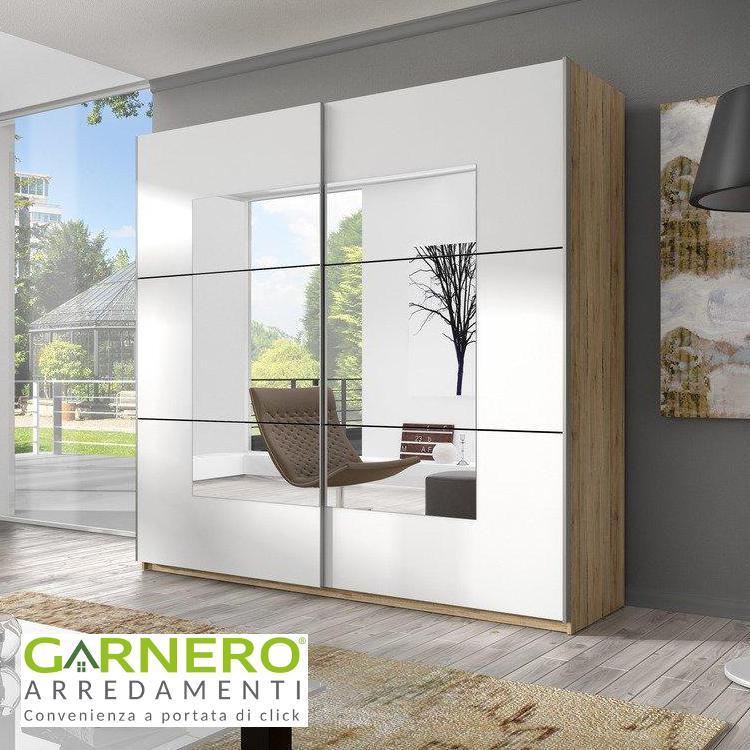 Armadio Con Ante A Specchio.Armadio Due Ante Scorrevoli Logan 200 Cm San Remo Oak Bianco Con Specchio Ebay