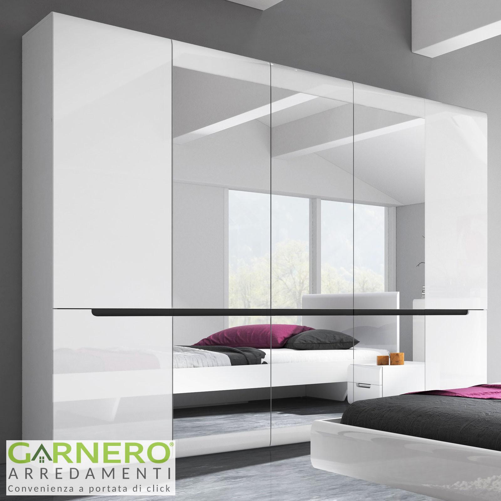 Camera Da Letto Completa Dubai Gihome Bianco Lucido Armadio Specchi Moderna Ebay