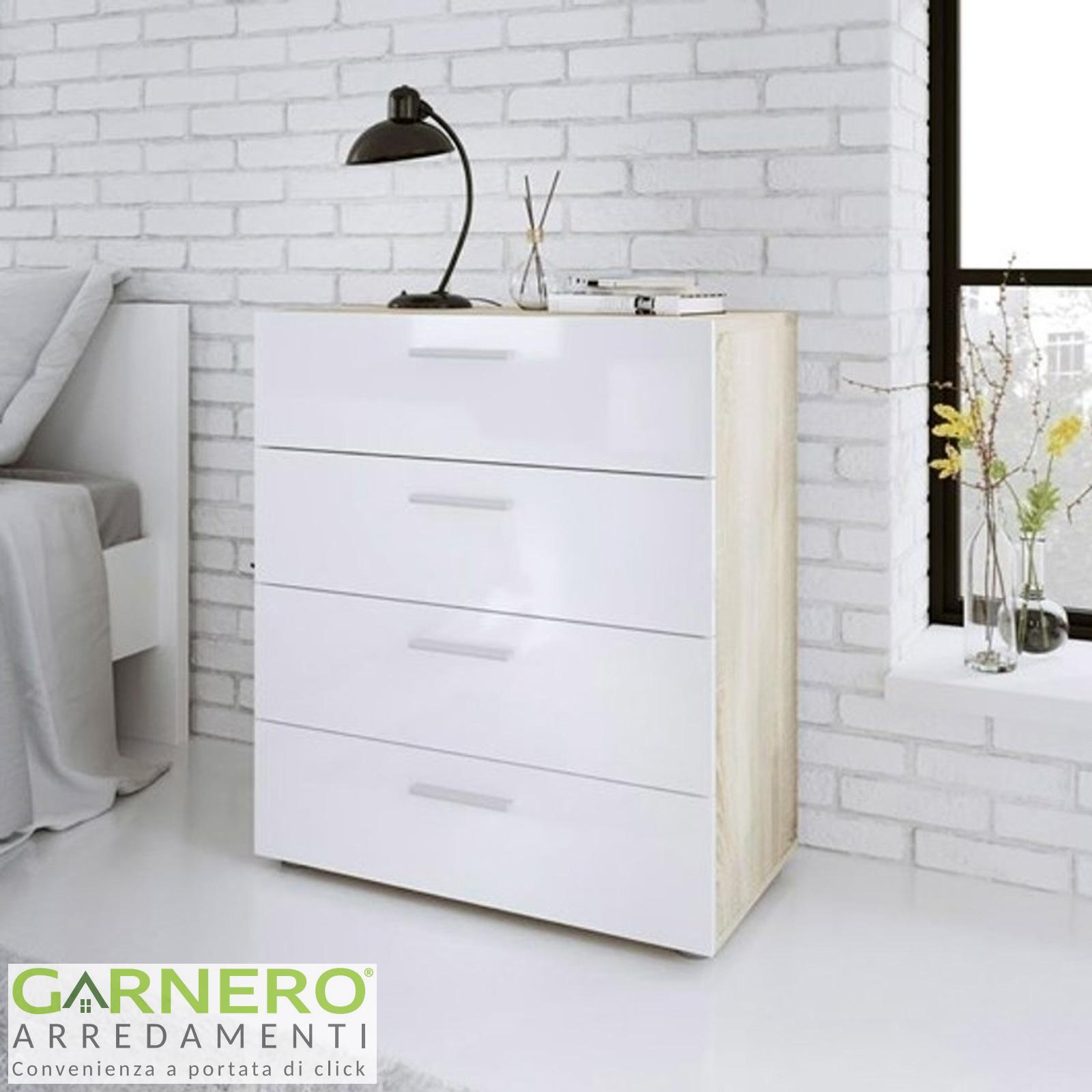 Mini Cassettiera Fai Da Te dettagli su cassettiera doppia elly design moderno bianco lucido e quercia  camera da letto