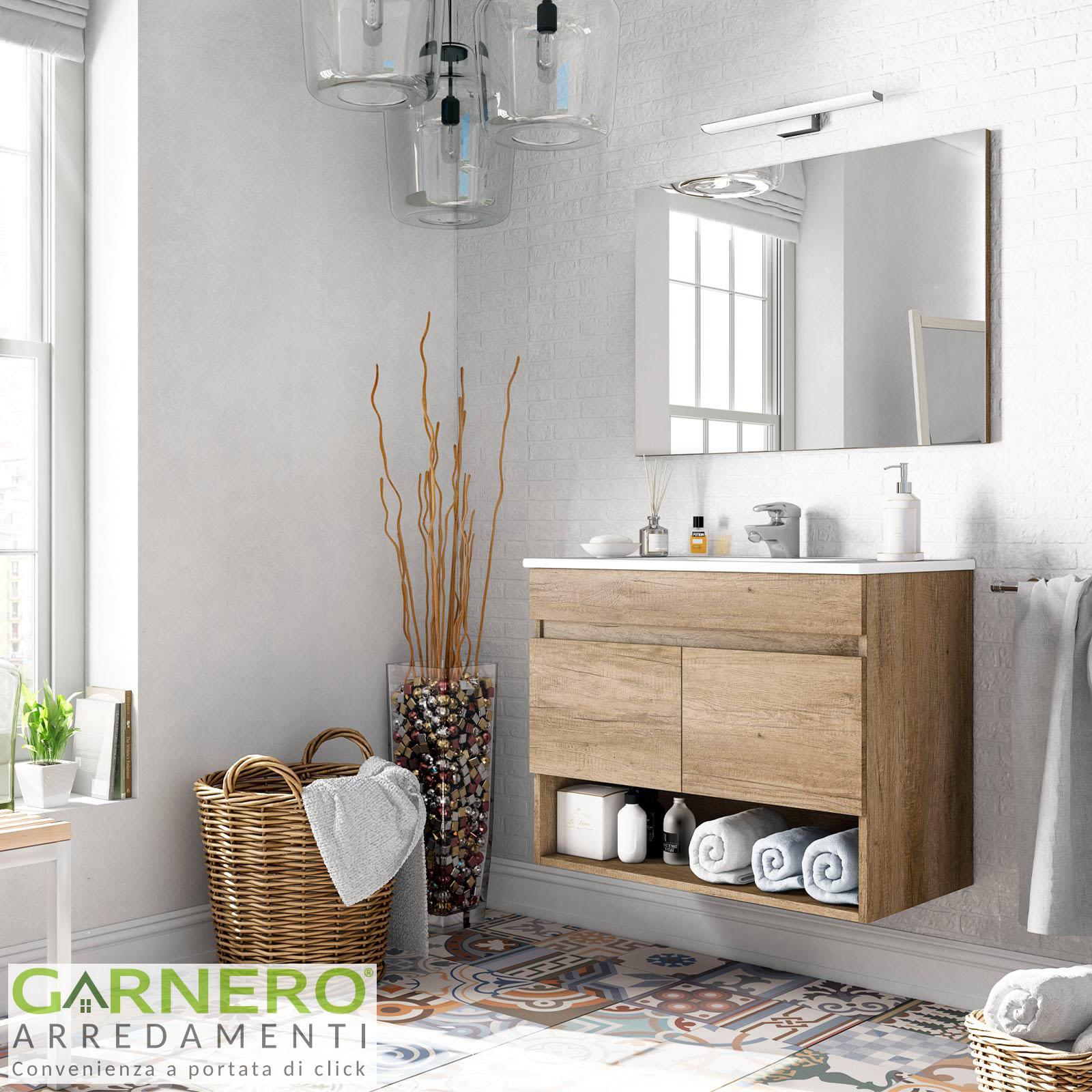 Lavandino Bagno Con Piede dettagli su mobile bagno dexter base specchio lavabo colonna sospeso  moderno design legno 80