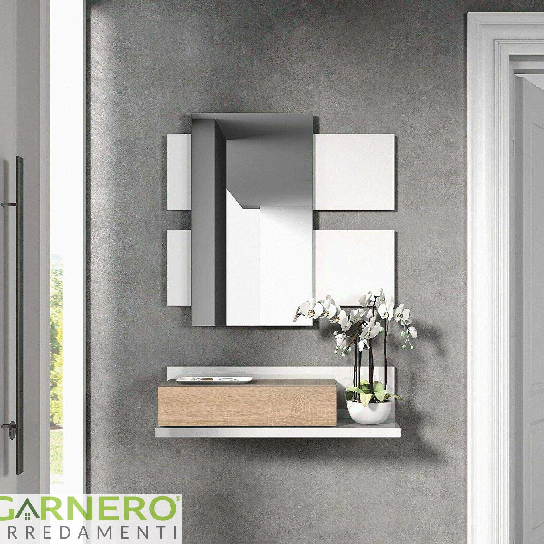 Altezza Specchio Ingresso dettagli su mobile ingresso amy moderno bianco opaco sospeso con mensola  cassetto specchiera