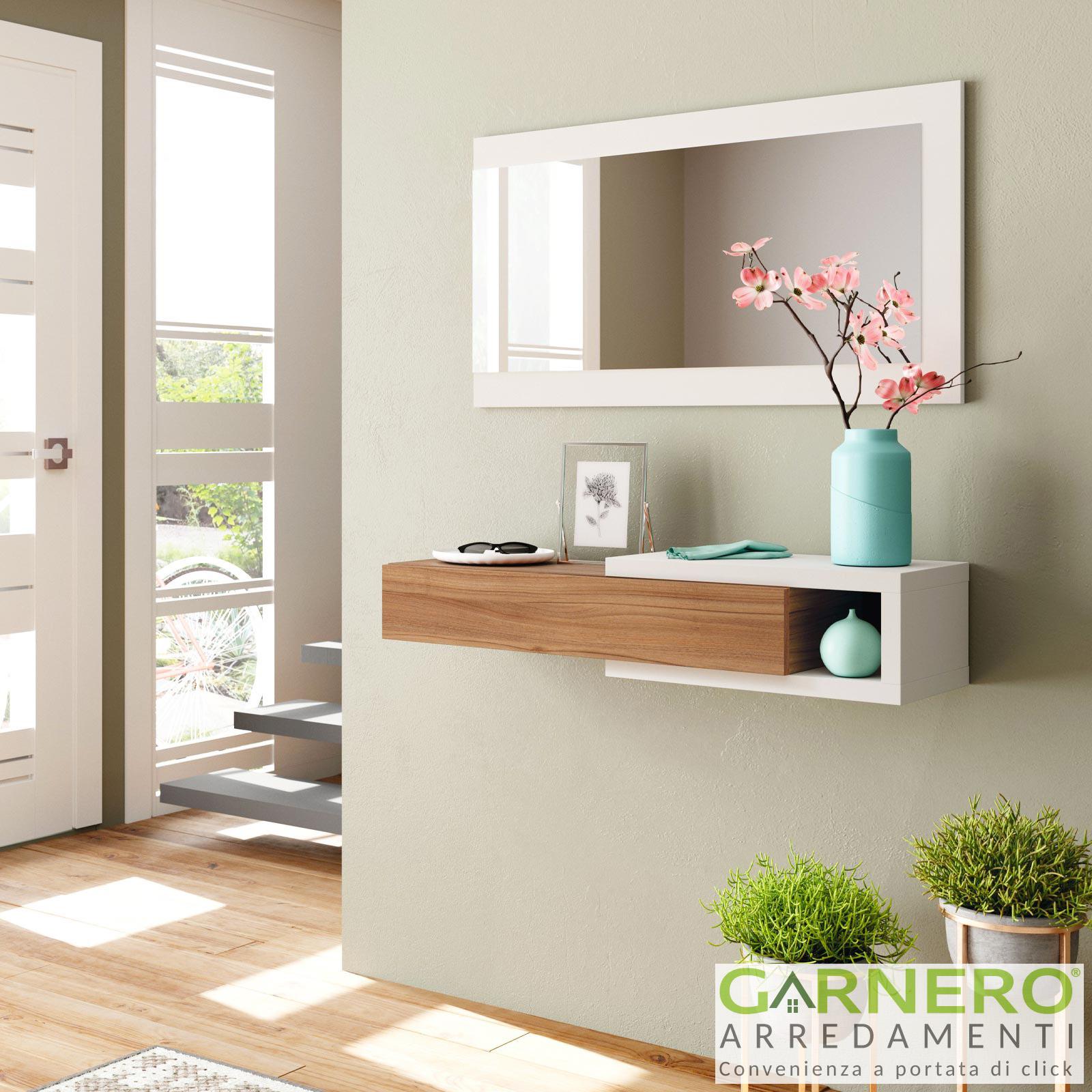Altezza Specchio Ingresso dettagli su mobile ingresso gallery noce bianco sospeso specchio entrata  corridoio mensola