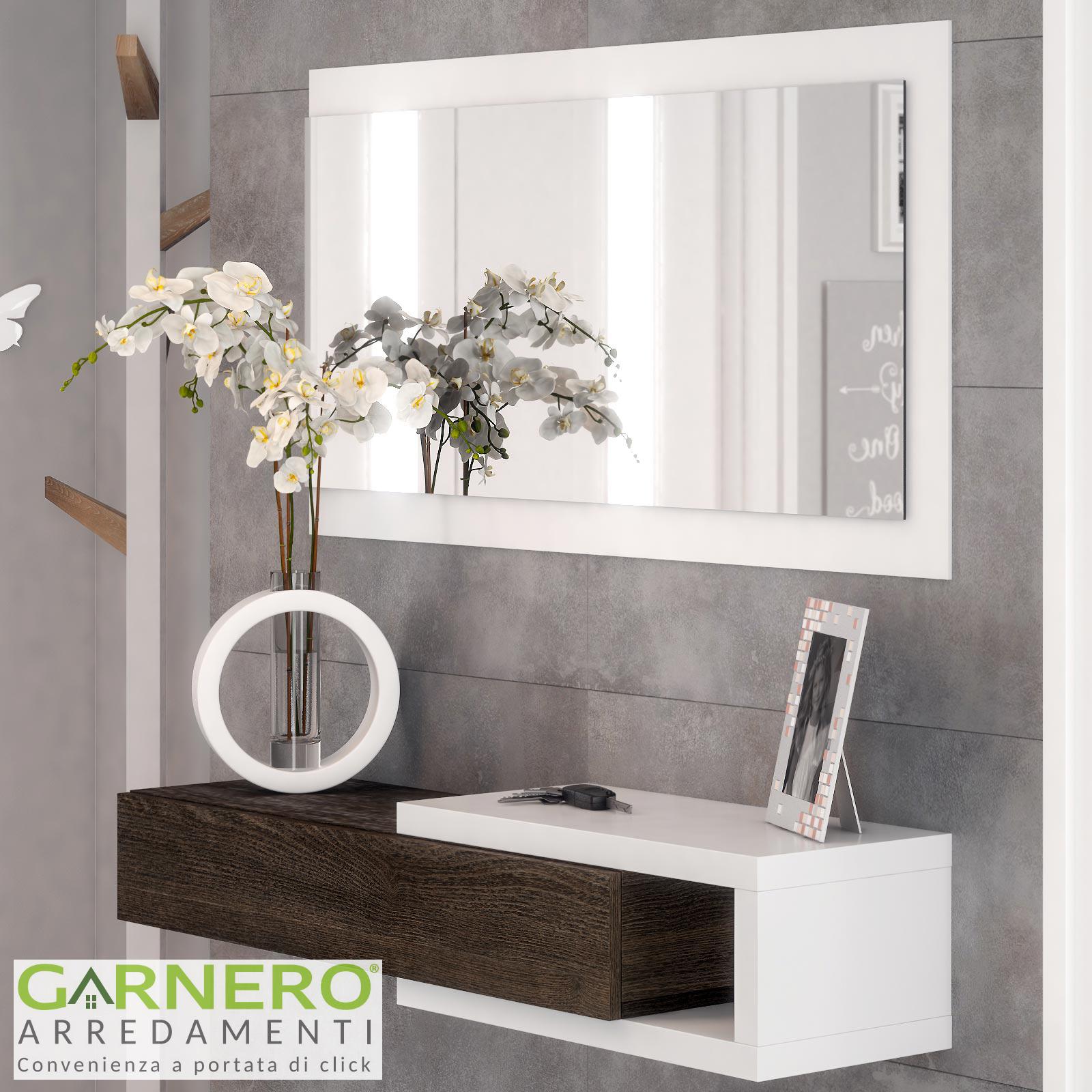 Dettagli su Mobile ingresso GALLERY sospeso wengè/bianco cassetto specchio  ingresso moderno