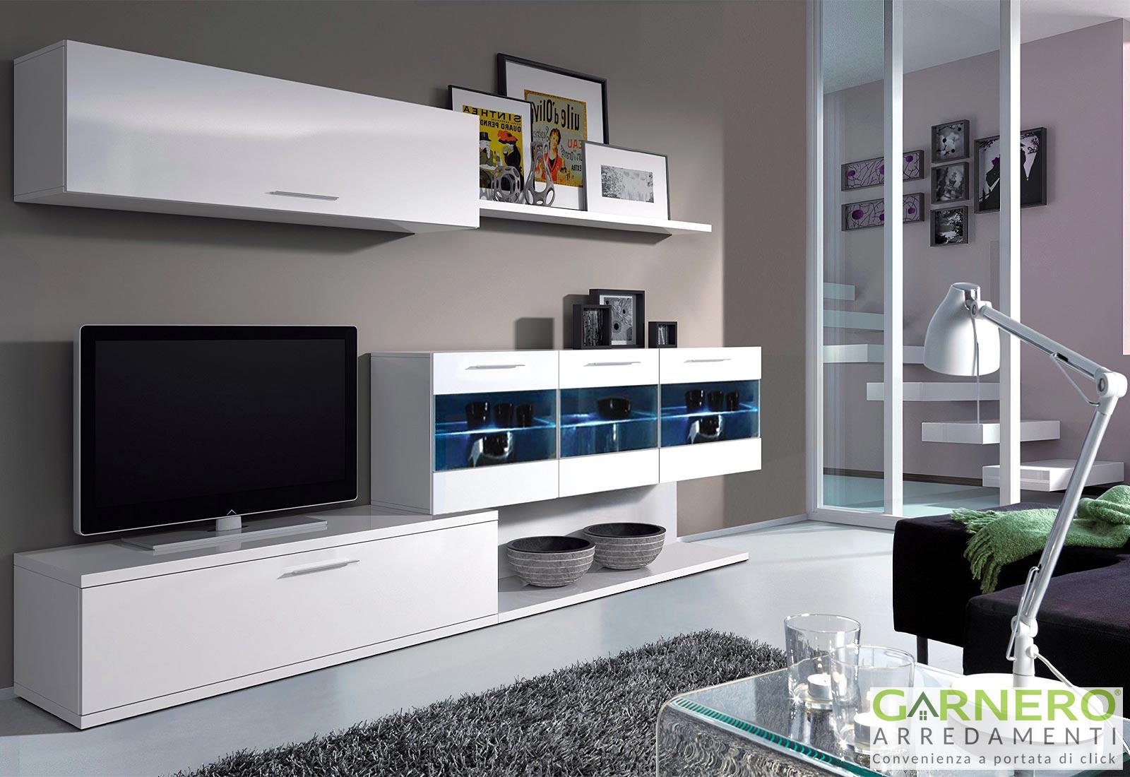 Parete Attrezzata Con Cornice dettagli su parete attrezzata holly mobile tv design bianco vetrina pensili  base soggiorno
