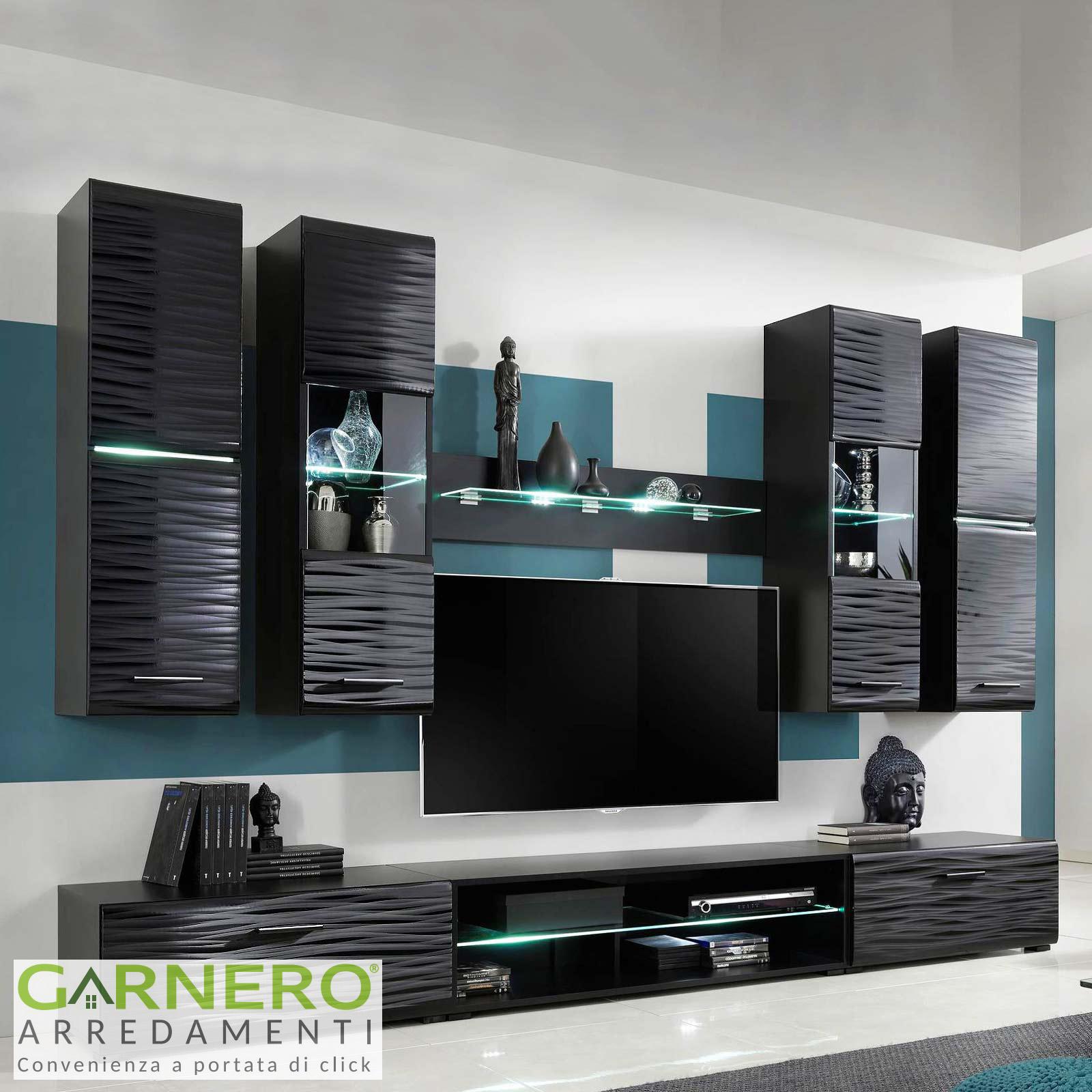 Dettagli su Mobile soggiorno moderno madia vetrina porta tv led parete  attrezzata Gihome®