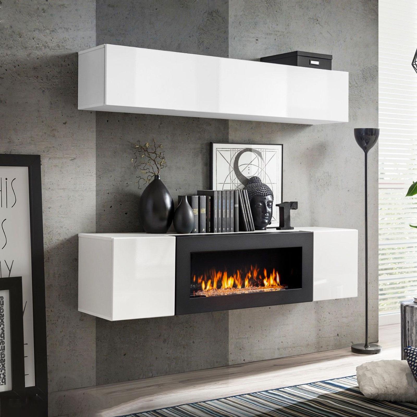 Soggiorno Moderno Con Camino dettagli su parete attrezzata n con biocamino bianco mobile soggiorno porta  tv caminetto