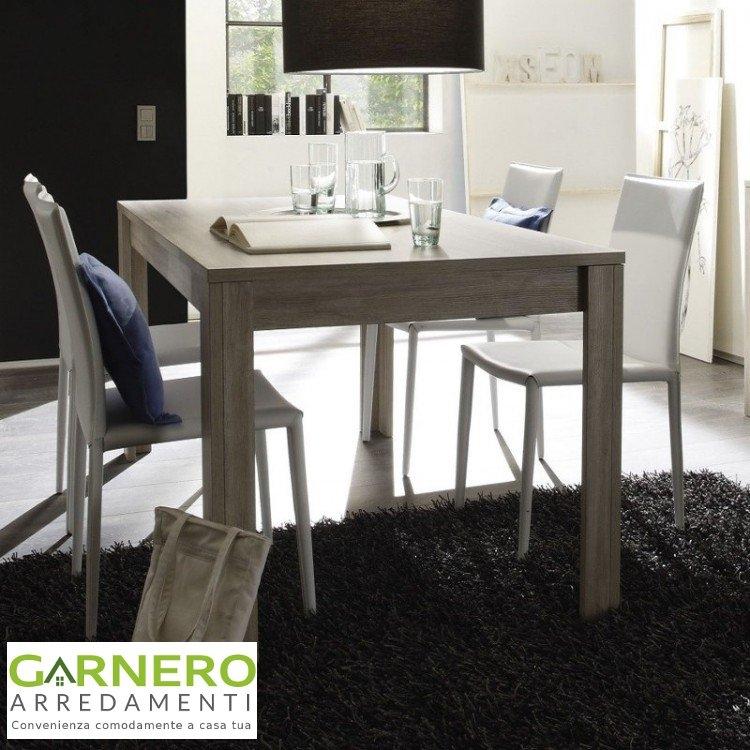 Tavolo in legno elba fisso 180cm finitura rovere grigio sala da pranzo cucina for Garnero arredamenti sedie
