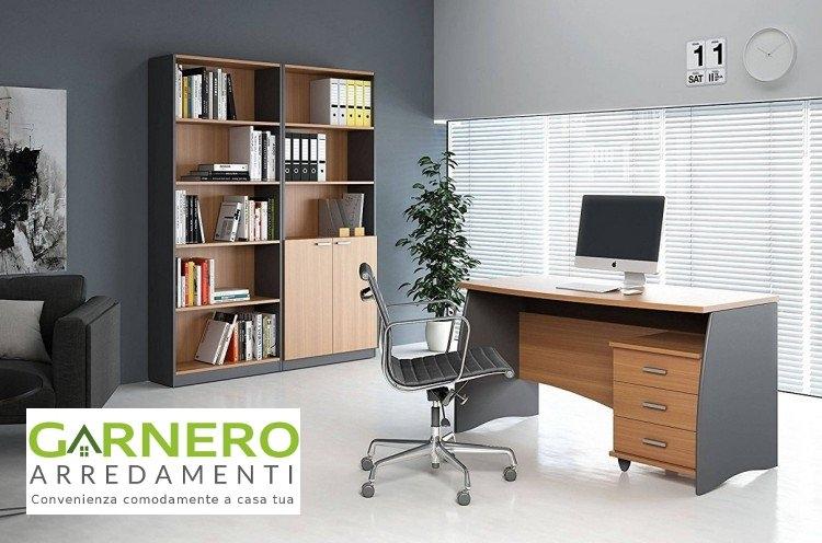 Libreria scrivania moderna ESTELLE castagno grigio ufficio soggiorno ...