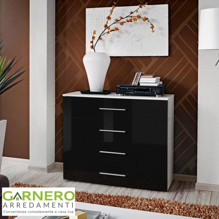 Cassettiera florida corpo bianco e cassetti neri lucidi ebay for Florida mobili