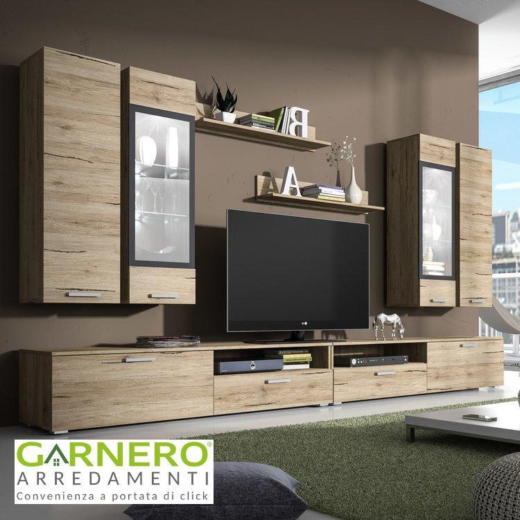 Parete attrezzata glamour legno mobile soggiorno salotto for Arredare parete attrezzata