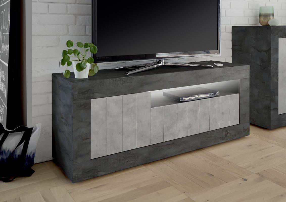 Dettagli su Porta tv 3 ante Urbino Ossido Cemento base tv design moderno  salotto