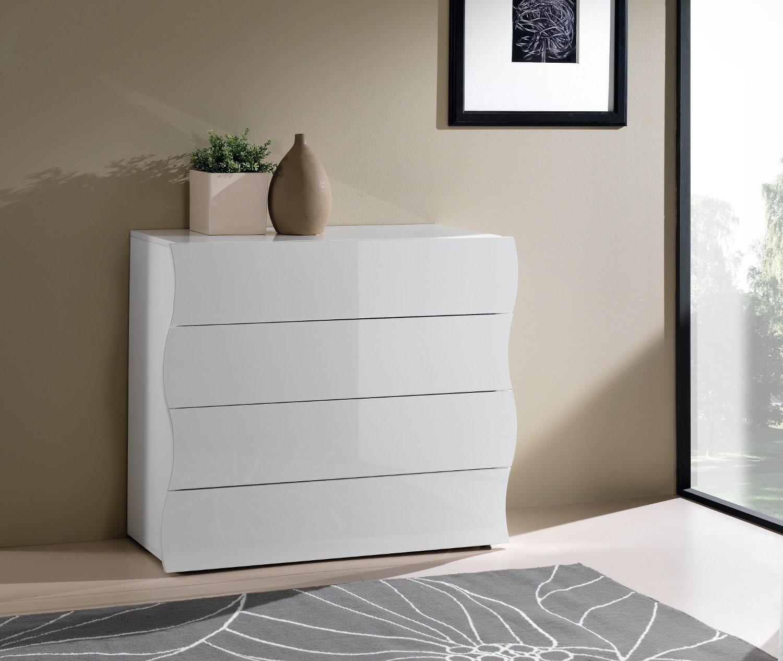 Camera Da Letto Bianco Lucido : Cassettiera comò sea cassetti bianco laccato lucido