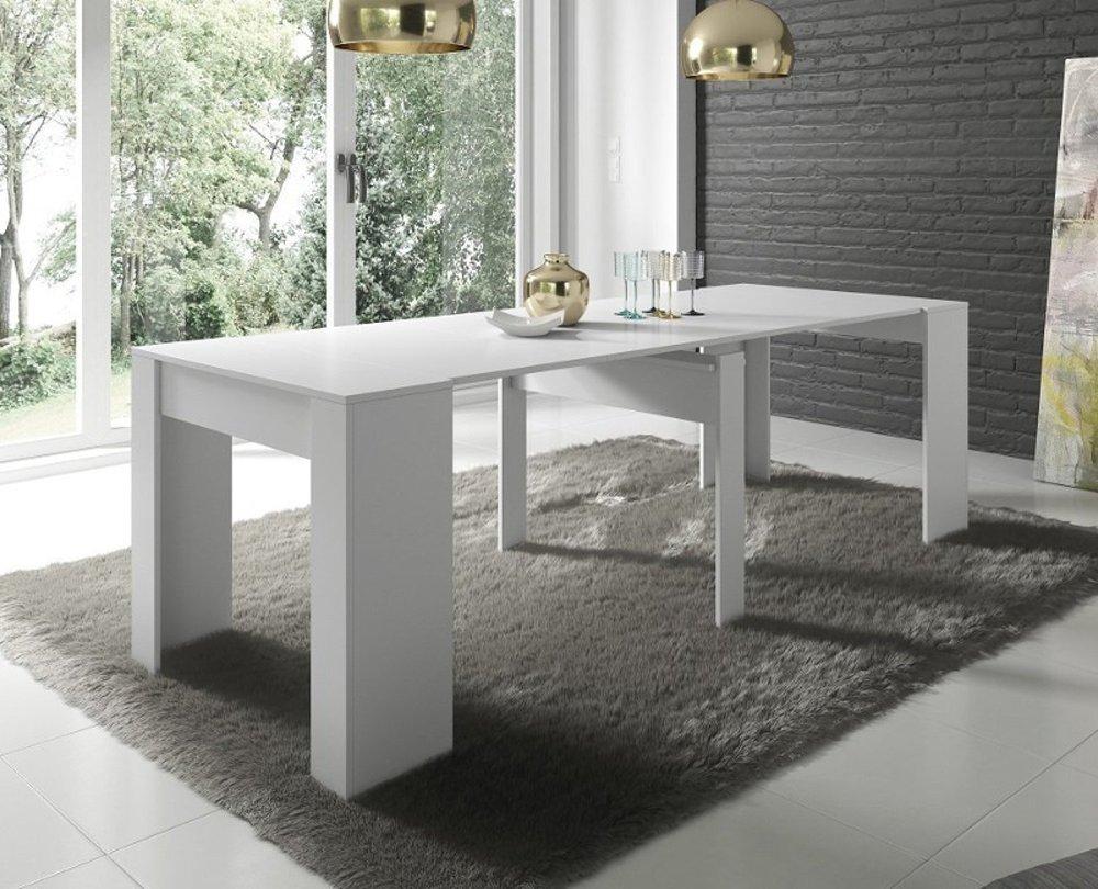 Tavolo consolle allungabile atalanta moderna bianco lucido for Consolle tavolo