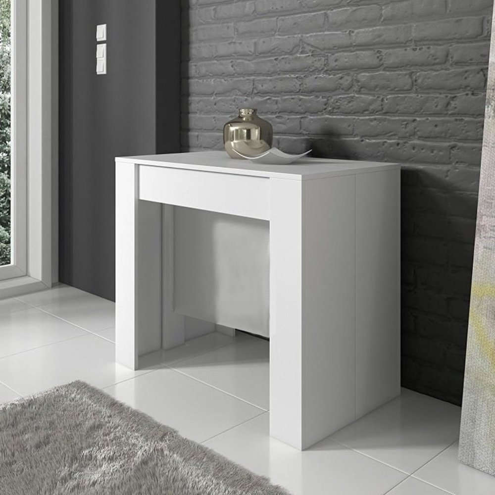 Tavolo consolle allungabile atalanta moderna bianco lucido for Consolle moderna