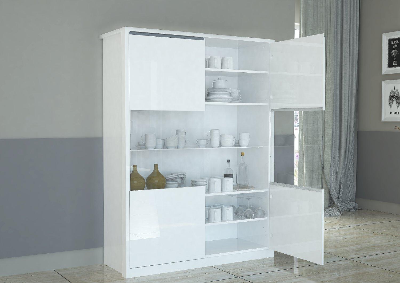 Vetrina moderna OPEN 2 ante bianco laccato lucido soggiorno, sala ...