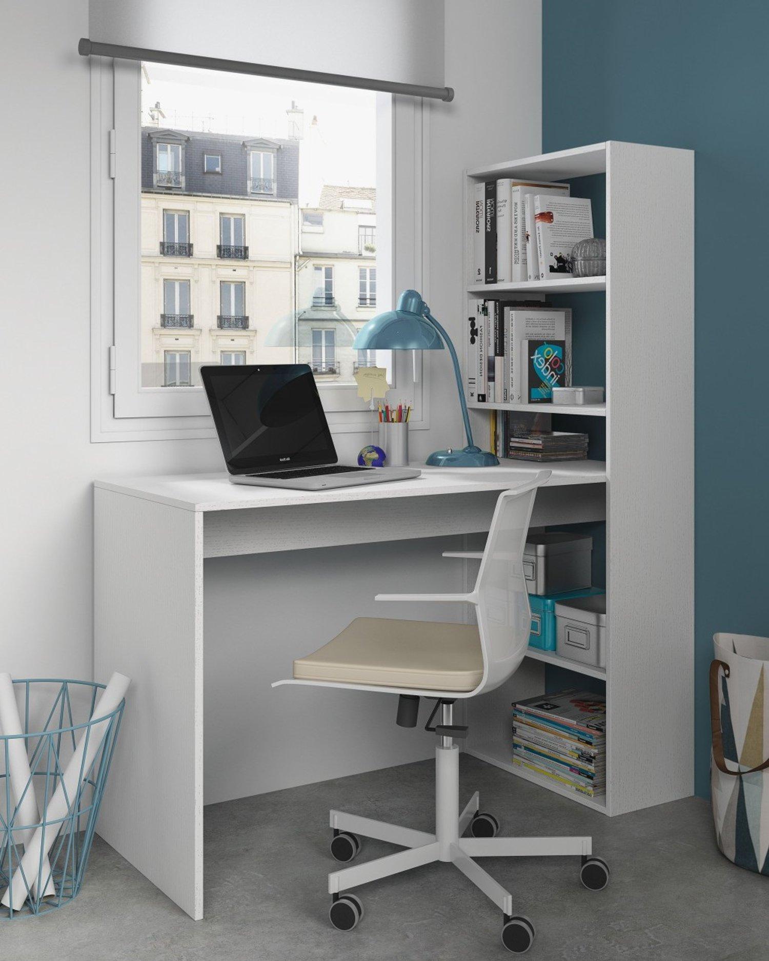 Scrivania jolie scrittoio con libreria bianco frassinato for Scrivania con libreria ikea