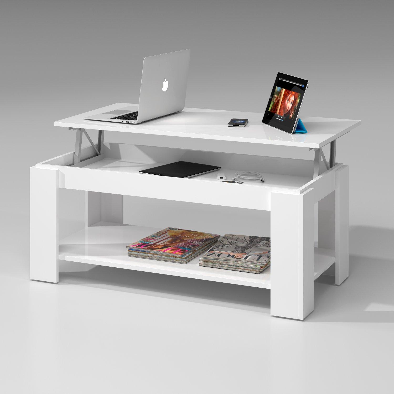 Tavolino basso charlotte tavolo contenitore bianco lucido for Tavoli moderni da salotto