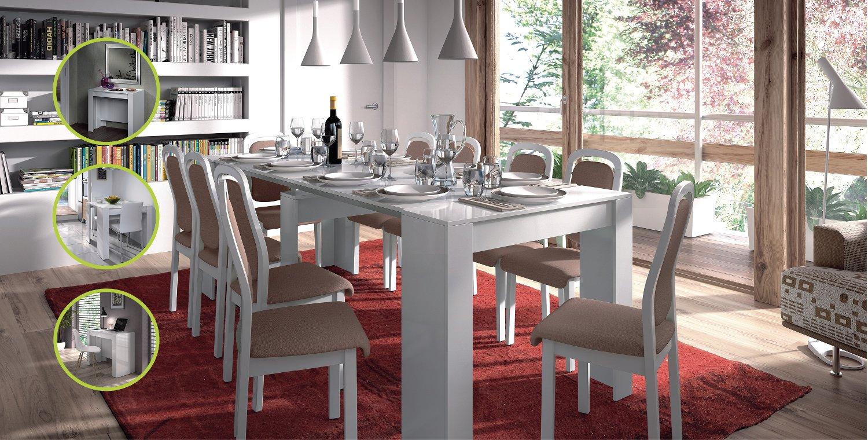 Tavolo consolle allungabile demetra moderna bianco lucido for Tavolo cucina bianco allungabile
